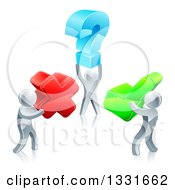 Clipart Of 3d Silver Men Carrying Question X And Check Marks Royalty Free Vector Illustration