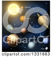 Clipart Of A Diagram Of The Solar System With Labeled Planets And Blue Star Background 2 Royalty Free Vector Illustration