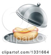 Clipart Of A 3d Hot Dog Being Served In A Cloche Platter Royalty Free Vector Illustration