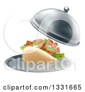Clipart Of A 3d Souvlaki Kebab Sandwich Being Served In A Cloche Platter Royalty Free Vector Illustration