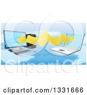 Clipart Of A 3d Desktop And Laptop Computer Transfering Files For Backups Over A Map Royalty Free Vector Illustration