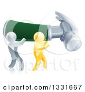 Clipart Of 3d Gold And Silver Men Carrying A Giant Green Handled Hammer To The Right Royalty Free Vector Illustration