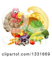 Clipart Of A Cute Turkey Bird Giving A Thumb Up Over A Pumpkin And Harvest Cornucopia 2 Royalty Free Vector Illustration by AtStockIllustration