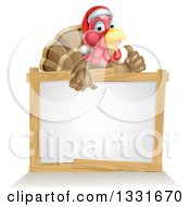 Clipart Of A Christmas Turkey Bird Wearing A Santa Hat And Giving A Thumb Up Over A Blank White Sign 2 Royalty Free Vector Illustration