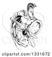 Clipart Of A Black And White Strong Spartan Trojan Warrior Mascot Sprinting With A Sword And Shield Royalty Free Vector Illustration