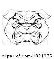 Black And White Snarling Bulldog Face