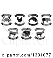 Clipart Of Black And White Premium Chicken Beef Pork Lamb Fish Seafood And Vegetarian Food Labels 2 Royalty Free Vector Illustration