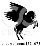 Clipart Of A Black Silhouette Of A Rearing Winged Pegasus Horse Royalty Free Vector Illustration by AtStockIllustration