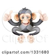 Clipart Of A Cartoon Black And Tan Happy Baby Chimpanzee Monkey Giving Two Thumbs Up Royalty Free Vector Illustration by AtStockIllustration