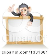 Cartoon Black And Tan Happy Baby Chimpanzee Monkey Giving A Thumb Up And Pointing Down To A Blank White Sign