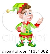 Clipart Of A Young Brunette White Male Christmas Elf Presenting And Giving A Thumb Up Royalty Free Vector Illustration by AtStockIllustration