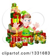 Clipart Of A Young Brunette White Male Christmas Elf Surrounded With Gifts Royalty Free Vector Illustration by AtStockIllustration
