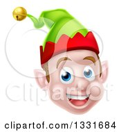 Clipart Of A Young Brunette White Male Christmas Elf Face Royalty Free Vector Illustration by AtStockIllustration