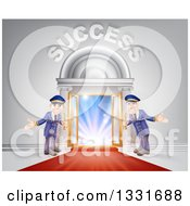 Clipart Of Venue Entrance With Welcoming Doormen A Red Carpet And Success Text Over Light Royalty Free Vector Illustration by AtStockIllustration