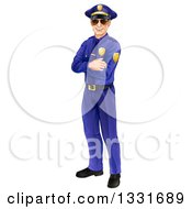 Clipart Of A Full Length Happy Caucasian Male Police Officer Standing With Folded Arms And Wearing Sunglasses Royalty Free Vector Illustration