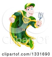 Clipart Of A Brunette Caucasian Male Super Hero Running With A Garden Fork Or Hand Rake Royalty Free Vector Illustration