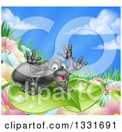 Clipart Of A Happy Spider On A Dewy Leaf Over Flowers Grass And Blue Sky Royalty Free Vector Illustration by AtStockIllustration