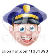 Clipart Of A Happy Caucasian Male Police Officer Face Royalty Free Vector Illustration by AtStockIllustration