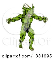 Clipart Of A Muscular Aggressive Green Dragon Man Mascot Walking Upright Royalty Free Vector Illustration