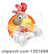 Clipart Of A Happy Brown And White Chicken Or Rooster Mascot Giving A Thumb Up And Emerging From A Sun Ray Circle Royalty Free Vector Illustration by AtStockIllustration