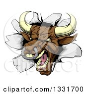 Clipart Of A Mad Brown Bull Breaking Through A Wall Royalty Free Vector Illustration