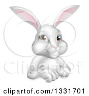 Clipart Of A Cartoon Happy White Rabbit Over A Sign Royalty Free Vector Illustration
