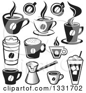 Clipart Of Black And White Coffee Cups Royalty Free Vector Illustration by Any Vector