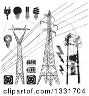Clipart Of Black And White Power Pylons Lines Light Bulbs Batteries And Sockets Royalty Free Vector Illustration