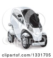 Clipart Of A White Futuristic Compact Mini Car Royalty Free Vector Illustration