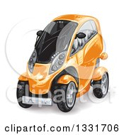 Clipart Of An Orange Futuristic Compact Mini Car Royalty Free Vector Illustration by merlinul