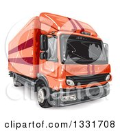 Clipart Of A Red Big Rig Lorry Truck Royalty Free Vector Illustration