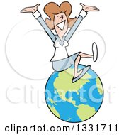 Clipart Of A Cartoon Happy Caucasian Business Woman Cheering On Top Of The World Royalty Free Vector Illustration