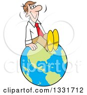 Clipart Of A Cartoon Happy Caucasian Business Man Sitting On Top Of The World Royalty Free Vector Illustration
