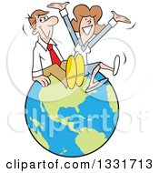 Clipart Of A Cartoon Happy Caucasian Married Couple Or Business Man And Woman Sitting And Cheering On Top Of The World Royalty Free Vector Illustration