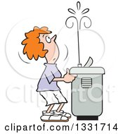 Clipart Of A Cartoon Red Haired Caucasian Woman Playing With The Spray Of A Water Drinking Fountain Royalty Free Vector Illustration