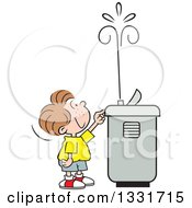 Clipart Of A Cartoon Caucasian Boy Playing With The Spray Of A Water Drinking Fountain Royalty Free Vector Illustration
