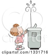 Clipart Of A Cartoon Caucasian Girl Playing With The Spray Of A Water Drinking Fountain Royalty Free Vector Illustration