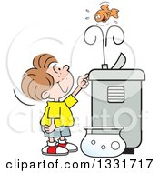Clipart Of A Cartoon Caucasian Boy Playing With A Goldfish In The Spray Of A Water Drinking Fountain Royalty Free Vector Illustration