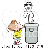 Clipart Of A Cartoon Caucasian Boy Playing With A Soccer Ball In The Spray Of A Water Drinking Fountain Royalty Free Vector Illustration