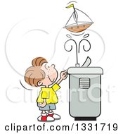 Clipart Of A Cartoon Caucasian Boy Playing With A Toy Boat In The Spray Of A Water Drinking Fountain Royalty Free Vector Illustration