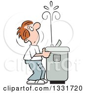 Clipart Of A Cartoon Caucasian Man Playing With The Spray Of A Water Drinking Fountain Royalty Free Vector Illustration