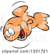 Clipart Of A Cartoon Happy Goldfish Jumping And Smiling Royalty Free Vector Illustration