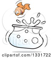 Clipart Of A Cartoon Happy Playful Goldfish Jumping Out Of A Bowl Royalty Free Vector Illustration