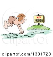 Clipart Of A Cartoon White Man Diving Into A No Swimming Area Royalty Free Vector Illustration by Johnny Sajem