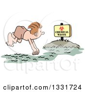 Clipart Of A Cartoon White Man Diving Into A Chemical Waste Area Royalty Free Vector Illustration