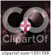 Clipart Of A 3d Vinyl Record With A British Flag In The Center Over Honeycomb Patterned Metal Royalty Free Vector Illustration by elaineitalia