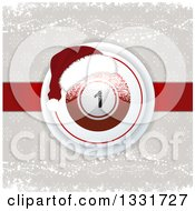 Clipart Of A 3d Christmas Bingo Or Lottery Ball With A Santa Hat And Snowflakes Over Taupe And Red Royalty Free Vector Illustration by elaineitalia
