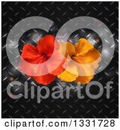 Clipart Of 3d Red And Orange Hibiscus Flowers Over Diamond Plate Metal With Flares Royalty Free Vector Illustration by elaineitalia