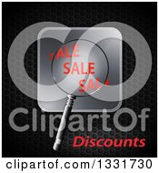 Clipart Of A 3d Magnifying Glass Over Sale Text On A Silver Button Over Dark Metal Royalty Free Vector Illustration by elaineitalia