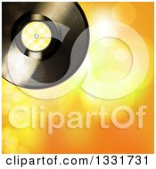 Clipart Of A 3d Music Vinyl Record With Yellow Gingham Plaid Over Yellow And Orange Flares Royalty Free Vector Illustration by elaineitalia